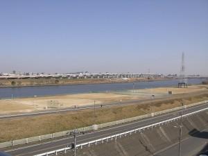 尾久橋スカイハイツ 開放廊下側眺望